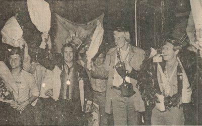 Een groots onthaal in september 1979 van de Eibergse touwtrekkersploeg, die in d…